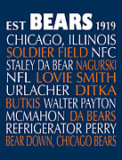 Poster Framed Prints Digital Art - Chicago Bears by Jaime Friedman