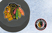 Puck Posters - Chicago Blackhawks Poster by Joe Hamilton