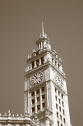 Flag Framed Prints Posters - Chicago Clock Tower Poster by Frank Romeo