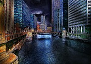 Cary Framed Prints - Chicago Evening Framed Print by Cary Shapiro