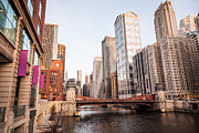 Lasalle Street Framed Prints - Chicago River Skyline at LaSalle Street Bridge Framed Print by Paul Velgos
