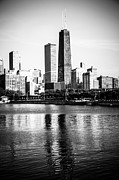 Chicago Black White Posters - Chicago Skyline Picture in Black and White Poster by Paul Velgos