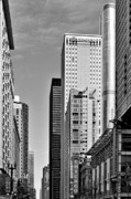 Chicago Skyline Bw Metal Prints - Chicago State Street - That great street Metal Print by Christine Till