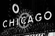 Marquee Framed Prints - Chicago Theater Sign in Black and White Framed Print by Paul Velgos