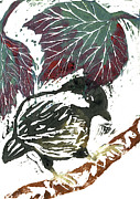 Nature Study Painting Posters - Chick a Dee  block print Poster by Ellen Miffitt