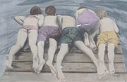 Dock Drawings - Children on the Dock by Alberta Boks