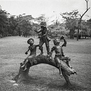 Black And White Religious Art Posters - Children Sculpture In The Garden Poster by Setsiri Silapasuwanchai