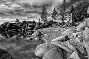 Black-and-white Metal Prints - Chimney Beach Lake Tahoe Metal Print by Scott McGuire
