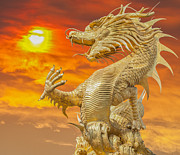 Chinese Red Posters - Chinese dragon Poster by Anek Suwannaphoom