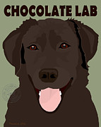 Chocolate Lab Digital Art Posters - Chocolate Lab Poster by Michael Ferreira