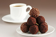 Round Posters - Chocolate truffles and coffee Poster by Elena Elisseeva