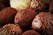 Dark Prints - Chocolate truffles Print by Elena Elisseeva