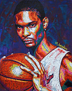 Sports Portrait Framed Prints - Chris Bosh Framed Print by Maria Arango