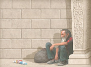 Homeless Paintings - Christ At Our Doorstep by John Alan  Warford