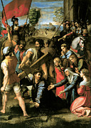 Falls Paintings - Christ Falls on the Way to Calvary by Raphael