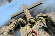 Evansville Framed Prints - Christ on the Cross with Mourners St. Joseph Cemetery Evansville Indiana 2006 Framed Print by John Hanou