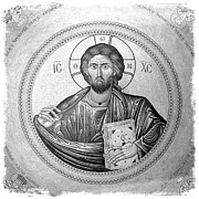 Jesus Christ Icon Prints - Christ Pantocrator in Black and White -- Church of the Holy Sepulchre Print by Stephen Stookey