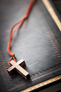 Pendant Prints - Christian Cross on Bible Print by Elena Elisseeva