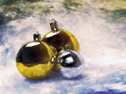 Close Up Painting Metal Prints - Christmas balls Artistic vintage painting Metal Print by Michal Bednarek