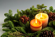 Pine Cone Photos - Christmas candles by Elena Elisseeva
