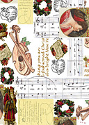Violin Digital Art - Christmas Collage by Sandy McIntire
