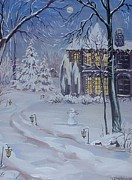 Snowy Night Framed Prints - Christmas Cottage Framed Print by Margaryta Yermolayeva