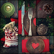 Menu Prints - Christmas dinner collage Print by Mythja  Photography