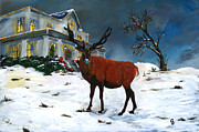 Christmas Eve Paintings - Christmas Elk by Gail Daley