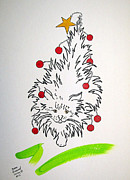 Balls Drawings Posters - Christmas Kitty Tree Poster by Susan Greenwood Lindsay