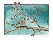 Gina Gahagan Metal Prints - Christmas Redpoll Metal Print by Gina Gahagan
