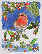Illustrated Posters - Christmas Robin Poster by Diane Matthes