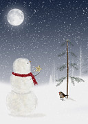 Snowy Night Night Mixed Media Posters - Christmas Snowman Poster by Maria Dryfhout