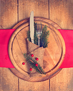 Burlap Prints - Christmas Table Setting Print by Christopher and Amanda Elwell