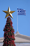 Christmas Tree Photos - Christmas tree and Greek flag by George Atsametakis