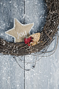Christmas Star Posters - Christmas Wreath Poster by Christopher and Amanda Elwell