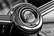 Black And White Photos Photos - Chrysler Town and Country Steering Wheel Emblem by Jill Reger