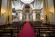 Decorative Benches Metal Prints - Church of Santa Barbara Interior in Madrid Metal Print by Artur Bogacki