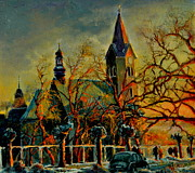 Henryk Gorecki Prints - Church Winter Sunset Print by Henryk Gorecki