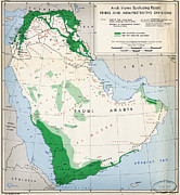 Old Map Paintings - CIA Map of Arab States 1947 by MotionAge Art and Design - Ahmet Asar