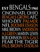 Sports Art Digital Art Posters - Cincinnati Bengals Poster by Jaime Friedman
