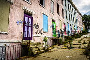 Dilapidated Houses Prints - Cincinnati Glencoe-Auburn Row Houses Picture Print by Paul Velgos