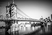 Brick Buildings Prints - Cincinnati Roebling Bridge Black and White Picture Print by Paul Velgos