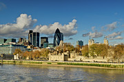 Tower Of London Framed Prints - City of London from Tower Bridge Framed Print by Gary Eason