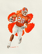 Running Back Painting Framed Prints - C.J. Spiller - Clemson Tigers Framed Print by David Straitiff