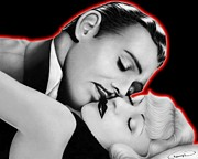 Clark Gable Framed Prints - Clark Gable and Carole Lombard Framed Print by Charles Champin