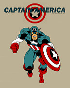 Captain America Prints - Classic Captain America Print by Mista Perez Cartoon Art