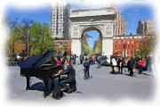 5th Ave Photos - Classical Piano in Washington Square by Allen Beatty