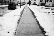 Sask Prints - cleared salted gritted sidewalk in a residential development Saskatoon Saskatchewan Canada Print by Joe Fox