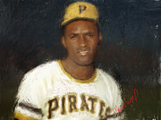 Roberto Clemente Framed Prints - Clemente Framed Print by Thomas Churchwell