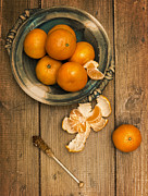 Clementines Posters - Clementines On Wooden Board Poster by Christopher and Amanda Elwell